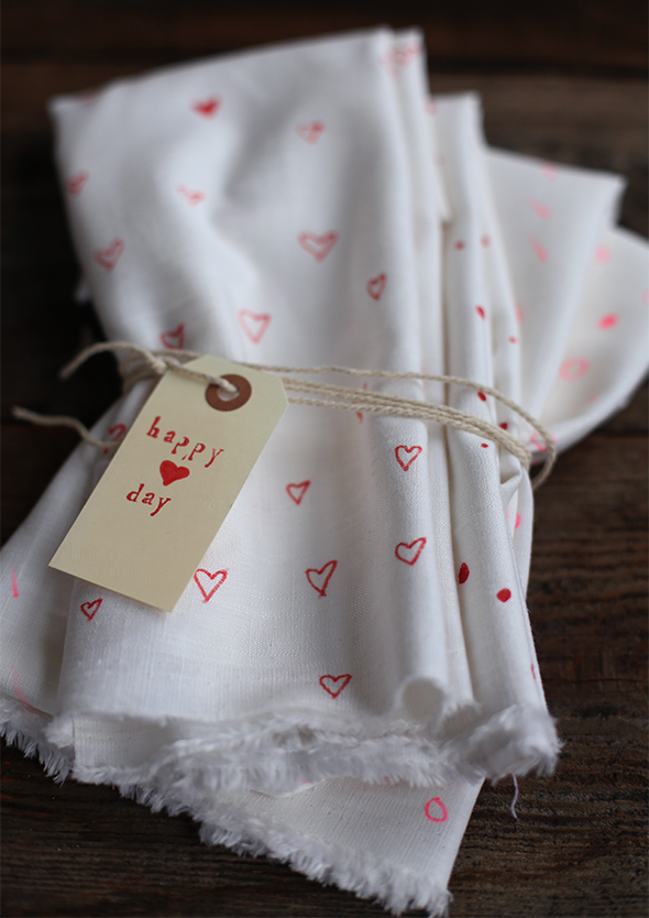 DIY decorated valentines day tea cloths