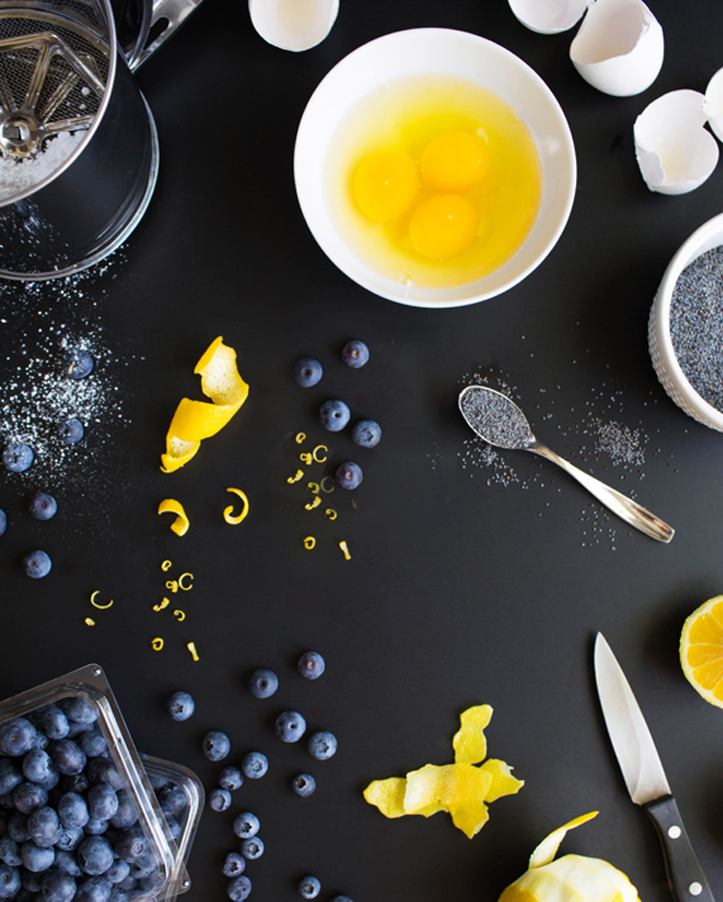Lemon Poppyseed Crepes with Blueberry Frosting