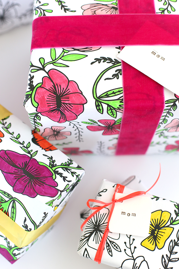 picture about Printable Gift Wrapper identified as Printable Coloring Wrapping Paper for Moms Working day - Say Indeed