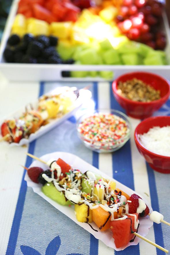fruit kabob sundaes