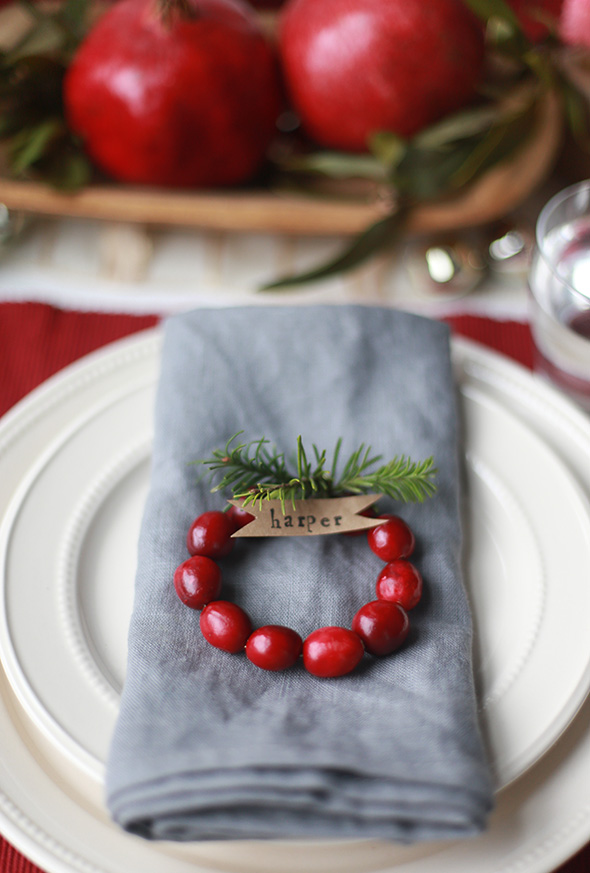 DIY Mini Cranberry Wreath Place Cards   Say Yes