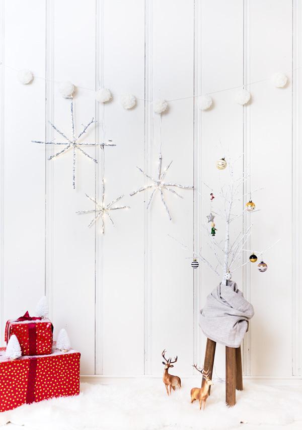 DIY stick snowflakes