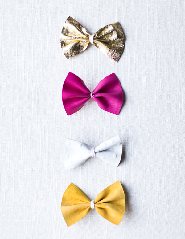 diy leather bow clips