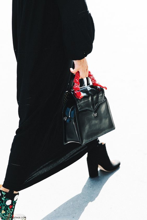 scarf on handbag